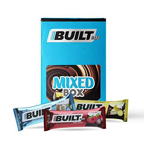 Built Bar 18 Pack Protein and Energy Bars - 100% Real Chocolate - High Protein, Whey and Fiber - Low Carb, Low Calorie, Low Sugar - Gluten Free (Mixed Box)