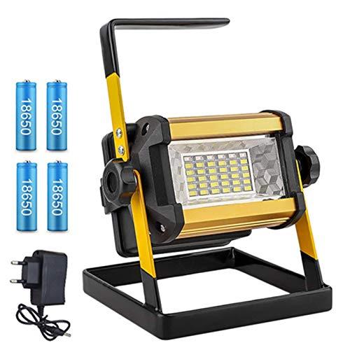 Tira de luz LED Foco Recargable LED LED Luz de luz de búsqueda Lámpara de Trabajo de Mano de Emergencia al Aire Libre para Acampar Garaje Tira de luz (Emitting Color : 50W with Battery)