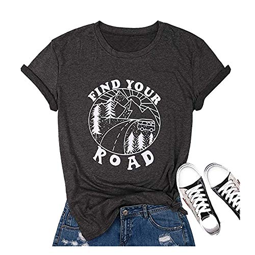 Jorlyen Women T-Shirts Graphic Funny Casual Letter Printed Short Sleeve Find Your Road Tee Tops Gray L