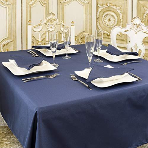 Nappe de luxe bleue unie anti-taches – Rectangulaire – Grandes tailles (140 cm x 250 cm)