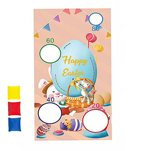 Easter Throwing Game, Easter Sandbag Throwing Flag with 3 pcs Bean Bag, Fun Easter Game for Children and Adults in Easter Party Activities, 130 x 70cm,B
