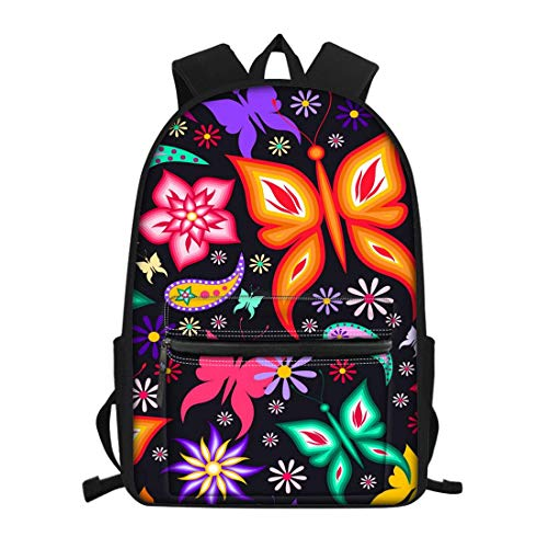 Waterproof Girls School Bag Durable Lightweight Travel Camping Sports Backpack for Girls Teenagers Colorful Butterfly Floral