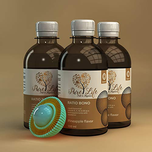 Pure Life Liquid Vitamin D3, K2 with Liposomal Technology, Higher Absorption, 30x More Bioavailability, Contains Vitamin E, A, D3 & K2, Promotes Bone and Heart Health, 300ml, 2 Months Supply.
