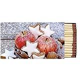 Caja de 45 cerillas para chimenea, diseño de manzanas y estrellas, invierno, 11 x 6,3 cm