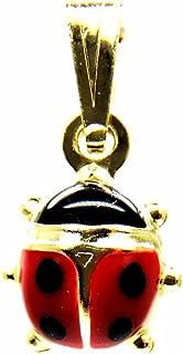 Ciondolo Oro Giallo 18kt (750) Pendente Coccinella Smaltata Rossa Portafortuna Donna Bambina