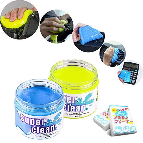 Kwak's Staubreiniger Slime Magic Cleaning Gel für Keyboard Phone Laptop Car Interior etc with Two Sponges(gelb+blau)