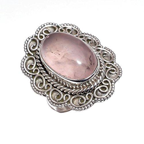 925 Sterling zilveren ring maat UK N 1/2, natuurlijke rozenkwarts handgemaakte vrouwen sieraden CR3060