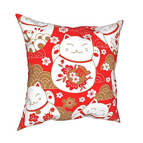 Kissenbezug Kissenbezüge 45x45CM süßes Muster mit Katzen, Glücksbringer, Maneki Neko, im orientalischen Stil. Vektordekoration für Hauptdekor-Büro-Sofa-Feiertags-Bar-Kaffee-Hochzeitsauto