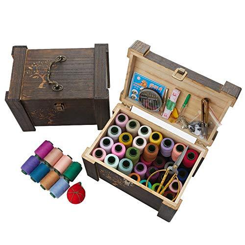 Holz sammlung Cesta de Coser de Madera con Kit de Costura, Más de 140 Piezas Accesorios Vintage Caja de Organización, Casa De Coser Conjunto para Adulto Chicas Viajes a Domicilio y Uso de Emergencia