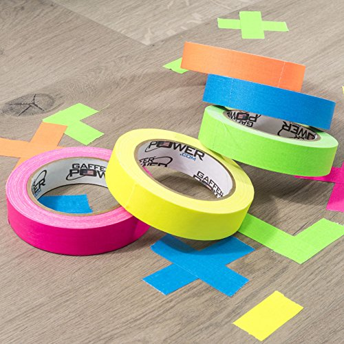 Professional Premium Grade Gaffers Tape - Heavy Duty Gaff Tape - Secures Cables, Labelling, No Sticky Residue, Multipurpose, 5 Pack UV Blacklight Reactive Fluorescent, 1 Inch x 20 Yards, Multicolor