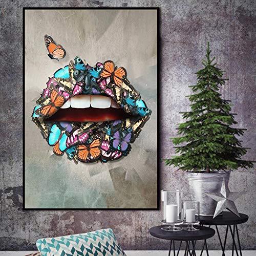 Póster de arte de pared, pintura en lienzo, arte de pared, labios sexis, lienzo moderno, cuadros de pared para la decoración de la sala de estar, 70x90cm sin marco