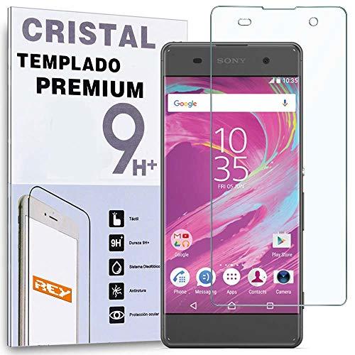 REY Protector de Pantalla Curvo para Sony Xperia XA, Transparente, Cristal Vidrio Templado Premium, 3D / 4D / 5D