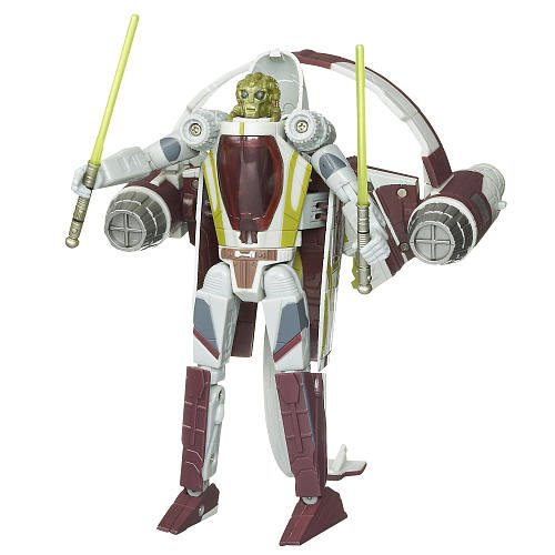 Hasbro Star Wars 2009 Transformers Kit Fisto to Jedi Delta-7 Starfighter