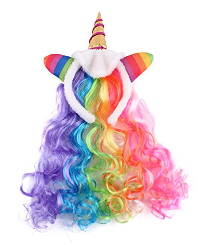 Felizhouse Rainbow Unicorn Wig For Girls Kids Birthday Cosplay Wig Headband for Party Costumes Accessories