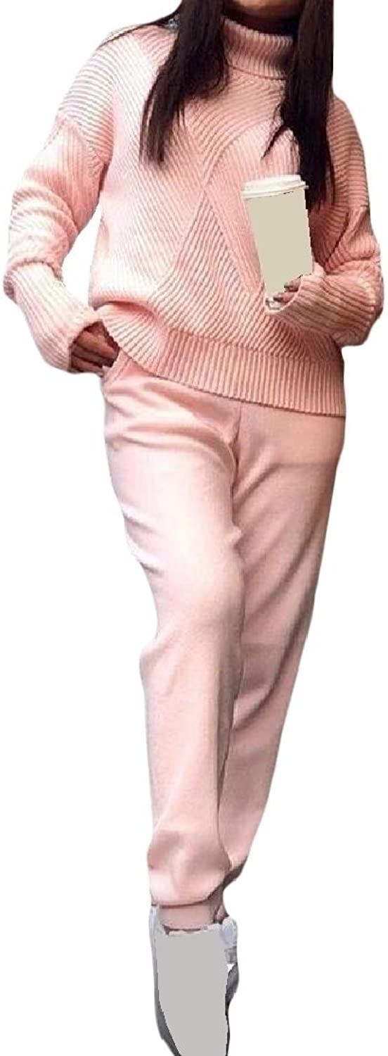 Cobama Women's High Collar Knit Two Piece Pockets Slim Solid Track Set