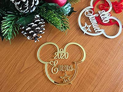 Mickey Mouse Head Christmas Tree Decoration 2020 Ornament Personalised Name Bauble Disney Party Favor Decor 1st Xmas Gift for Kids First Birthday Gifts Hanging Cute Minnie Mouse Acrylic Ornaments 2021