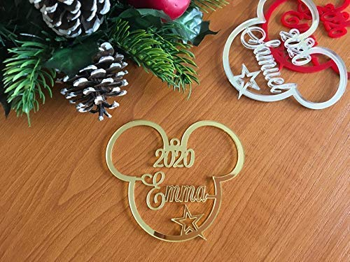 Mickey Mouse Head Christmas Tree Decoration 2021 Ornament Personalized Name Bauble Disney Party Favor Decor 1st Xmas 2020 Gift for Kids First Birthday Gifts Hanging Cute Minnie Mouse Acrylic Ornaments