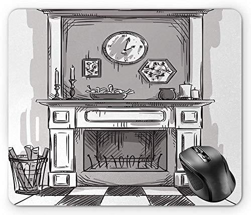 Muismat voor open haard grijs, schetsende illustratie van de gezellige rand van het huis met logarithemische vuur-blassem taupe-dimgray-witte muismat
