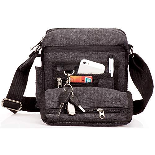 Outreo Borsa Tracolla Uomo Borse da Spalla di Tela Canvas Messenger Bag Vintage Sacchetto di Tablet Piccolo Borsello per Studenti Scuola università Tasche Viaggio Outdoor Sport Tasca