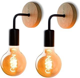 2 Pack Applique Murale Rétro, Lampe Murale en bois, Éclairage Mural Métal Vintages, pour salon, chambre à coucher, décorat...
