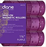 Diane Snap On Magnetic Roller, Purple, 1 3/4'', Keeps hair style in place, Holds curls, Non breakable material, For all types of hair, Hair style, Dry or damp hair.