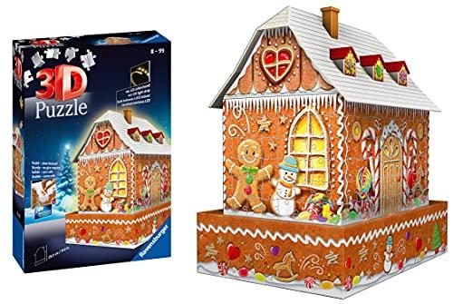 Ravensburger Puzzle 3D, Casa di Pan di Zenzero, con Luci LED, 216 Pezzi, Età Consigliata 10+, Puzzle Ravensburger di Alta Qualità, 11237 1