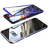 Jonwelsy Funda para Samsung Galaxy S8 (5,8 Pulgada), 360 Grados Delantera y Trasera de Transparente Vidrio Templado Case Cover, Fuerte Tecnología de Adsorción Magnética Metal Bumper Cubierta