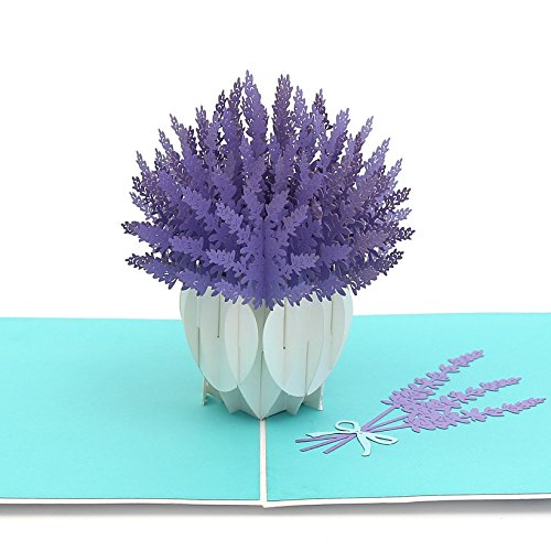 Liif Lavender Blooms Pop Up Card, 3D Flower Greeting Card, Pop Up Card for All Occasions, Birthday, Mother's Day, Anniversary, Wedding, Congratulations, Get Well Card, Handmade Gift