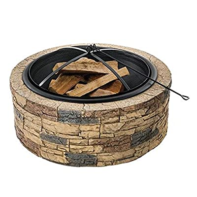 Fire Pit Outdoor Wood-Burning fire Pit, 35-inch fire Pit with Spark Screen, Poker, Courtyard Backyard Garden fire Pit from Lijack