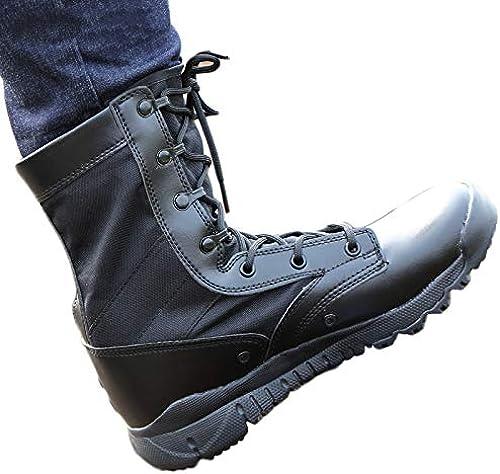 Liabb Bottes de Combat pour Hommes armés armés armés du désert Armée de Patrouille Botte en Cuir Militaire Chaussures à Lacets Chaussures Pratiques Chaussures Tactiques de la Jungle,noirleather,40 57c