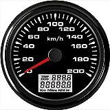Velocímetro cuentakilómetros 85mm Auto GPS marino Velocímetro Velómetro 0-200KM / h de velocidad del kilometraje del odómetro 9-32V con luz de fondo (Color : BN, Size : Gratis)