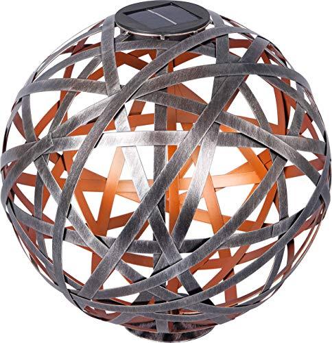 Dehner Solar-Kugelleuchte Malabo, warmweiß, Ø 30 cm, Metall/Kunststoff, Silber/Kupfer
