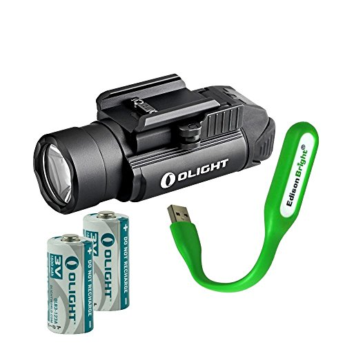 EdisonBright Olight PL-2 1200 Lumen LED Weapon/Pistol Light (PL2) for Glock and More USB Reading Light Bundle