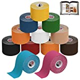 ALPIDEX Cinta Kinesiologa Tape 5 m x 5 cm Cinta Muscular E- Book Ejemplos Aplicacin, Color:colores surtido, Cantidad:12 rollos