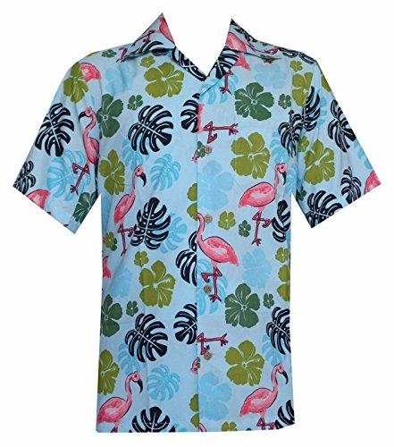 Alvish - Camisa hawaiana para hombre con estampado de hojas de flamencos Azul aguamarina XL