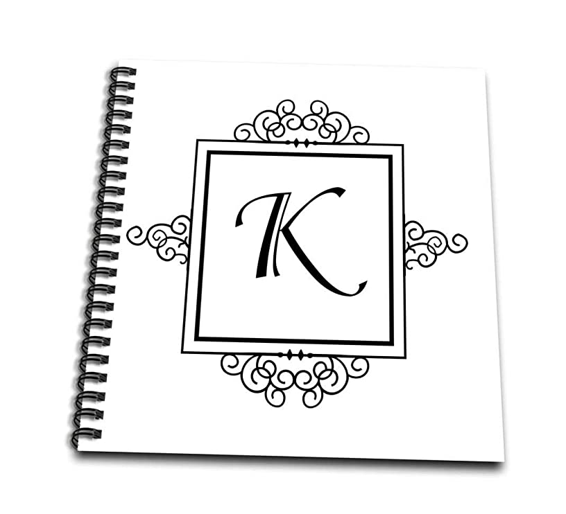 3dRose db_154334_1 Initial Letter K Personal Monogrammed Fancy Black and White Typography Personalized Drawing Book, 8