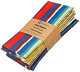 Ruvanti Cloth Napkins 6 Pack (100% Cotton 18' X 18') Teal Stripe, Dinner Napkins,Soft & Comfortable, Cotton...