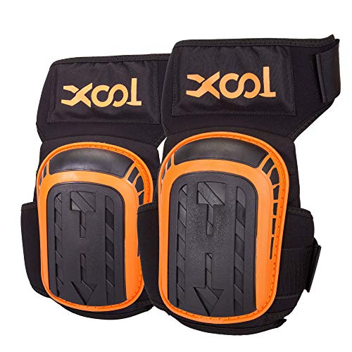 Knee Pads for Work, XOOL Professional Knee for Construction, Flooring, Gardening, Cleaning, Heavy Duty Support Knee Pads with High Density Foam Padding Gel Cushion and Adjustable Velcro Straps