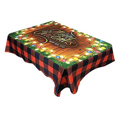 Kesio - Mantel rectangular de Navidad, impermeable, para decoración navideña, para comedor, fiestas, fiestas, cenas de vacaciones, 150 x 150 cm