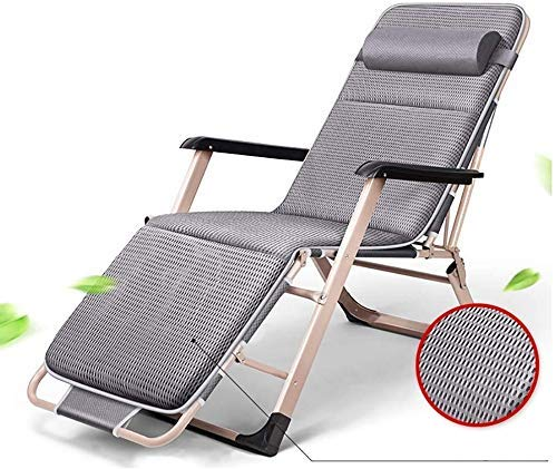 Sun Lounger Garden Chairs Foldable Deck Chair Garden Adjustable Chaise Recliner, Sun Lounger with Cushion Oversize Zero Gravity Patio Foldable Chair for Heavy Duty People (Color, Blue),Gray