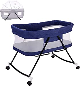 FQJY Multifunctional Baby Bedside Crib Sleeping Cot Bed Travel Cots Baby Bed Bassinet Folding Cot Adjustable Co-Sleepers with Matress and Mosquito Net Blue