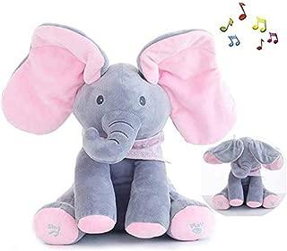 JIAJIA Peek-a-Boo Elephant Plush Toy Baby Animated Flappy Ear Elephant Singing Plush Stuffed Animal Doll Toy Great Gift for Baby & Kids (Pink)