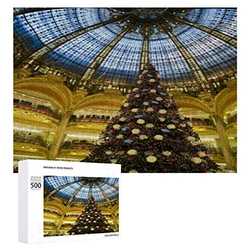 Traasd11an Jigsaw Puzzle 500 Piece- Galeries La Fayette at Christmas Paris France,Every Piece is Unique, Softclick Technology Means Pieces Fit Together Perfectly