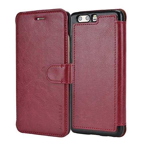 Mulbess Cover per Huawei P10 Plus, Custodia Pelle con Magnetica per Huawei P10 Plus Caso, Vno Rosso