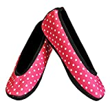 Nufoot Ballet Flats Women's Shoes, Foldable & Flexible Flats, Slipper Socks, Travel Slippers & Exercise Shoes, Dance Shoes, Yoga Socks, House Shoes, Indoor Slippers, Pink Polka Dots, Medium