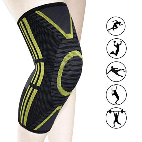 Compression Knee Sleeve, 1 Pair Best Knee Brace Support for Men & Women, Knee Support for Arthritis, ACL, Running, Pain Relief, Injury Recovery, Basketball and More Sports (2020) (Renewed)