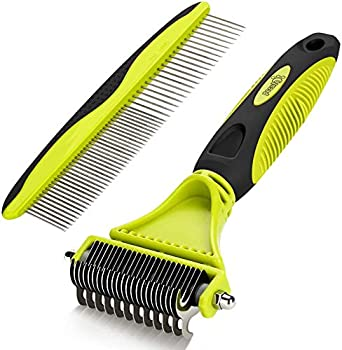 Pecute Dog Deshedding Brush Dog Grooming Brush Tool Kit with Double-Sided Blade Dog Rake Comb for Dogs and Cats