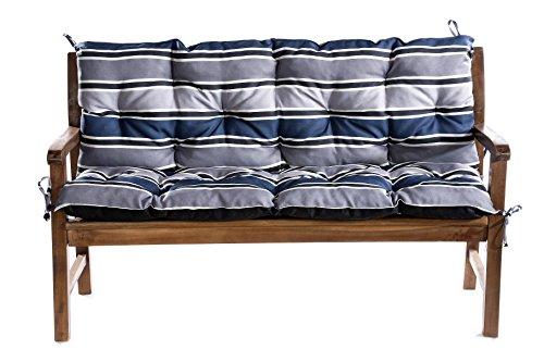 Bankauflage Für Hollywoodschaukel Bankkissen Set Sitzkissen Rückenlehne L (130x60x50, Blau-Grau)