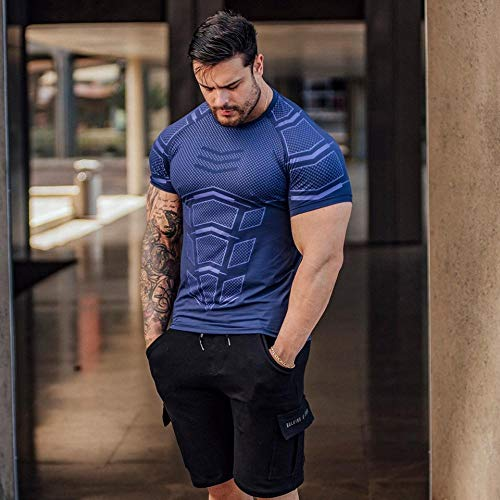 B/H Hombres Apretado Compresión,Fitness Coach Sports t-Shirt, High-Elastic Training Quick-Drying Clothes-Blue_XXL