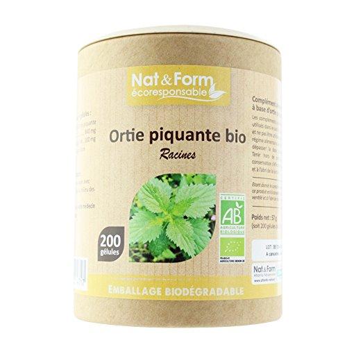 Nat&Form | Complément Alimentaire Racine d'Ortie Piquante Bio AB | Prostate & Confort Urinaire | Energie, Vitalité, Tonus | Made In France | Cure de 50 Jours | 200 Gélules
